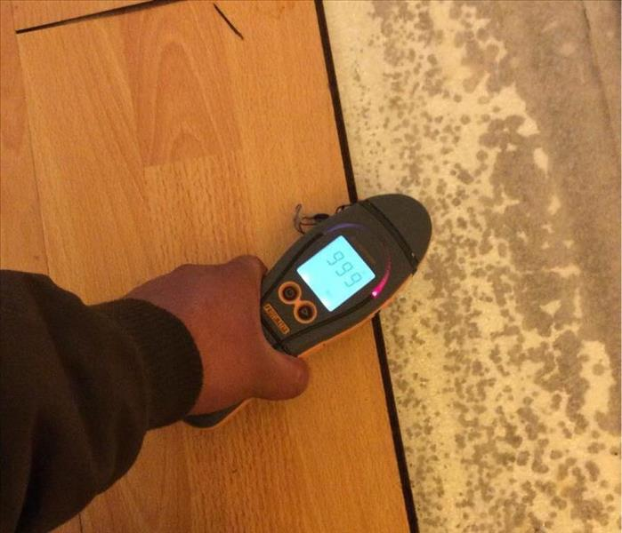 SERVPRO worker detecting moisture with his moisture meter on the vinyl floors